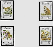 ST. KITTS Sc 189-92 NH issue of 1986 - WWF - ANIMALS - GREEN MONKEY
