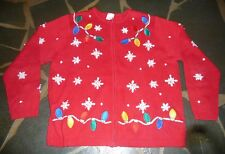 UGLY TACKY Vintage Christmas Holiday Sweater Cardigan SIZE 1X Christmas Lights