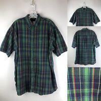 Orvis Seersucker Mens Button Down Shirt LARGE Plaid Vtg Short Sleeve Cotton