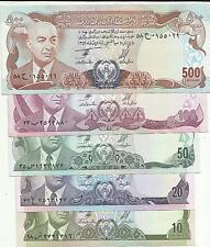 AFGHANISTAN LOT SET 10-20-50-100-500 AFGHANIS 1973  XF-aUNC. 1ovt