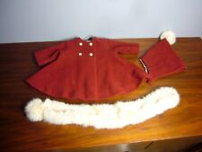 Beautiful real fur Red Wool Satin Lined coat jacket W Scarf Hat for Doll