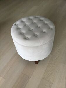 Large round Velvet Ottoman Storage Design Cream Ivory Beige Tufted Living