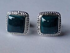 STERLING SILVER 10mm.STUD EARRINGS WITH A MALACHITE CABOCHON STONES £10.50 NWT