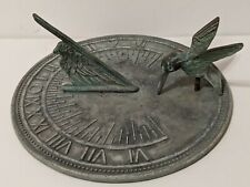 "Brass Sundial with Hummingbird - 7"" Wide Vintage patina Roman Numerals"