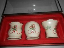Lenox Christmas Holiday Votives Set Of 3 Holders With 3 Candles - New In Box