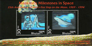 BHUTAN 1994 Astronaut on Moon-Hologram Space Shuttle Miniature sheet of 2 stamps