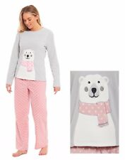 Ladies Super Soft Luxury Scarf Bear Pyjama Set Micro Fleece 2 Piece Polyester Large (loc.e307)