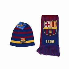 FC Barcelona  Beanie Pom and Scarf Authentic Official Soccer FCB