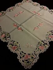 """33"""" Square Embroidered Tablecloth Spring Flowers TableTopper Home Decor"""