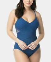 Coco Reef Contours Sterling V Neck Crochet One Piece Swimsuit Blue 12/36C