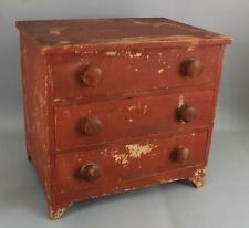 Antique American Folk Art Childs Old Red Milk Paint Miniature Chest of Drawers