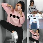 femmes rose manches longues PULL PULL-OVER COURT HAUT SWEAT À CAPUCHE PULL