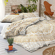 Indian Golden Gold Duvet Tapestry Queen Doona Cover Mandala Exotic Quilt Pillow