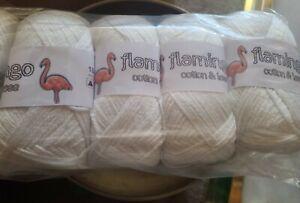 Flamingo Cotton & Lase Knitting Yarn - Silky  WHITE 500g