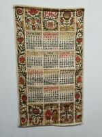 "Vintage 1962 Linen Cloth Wall Calendar  16"" X 28.5"""
