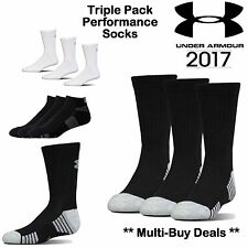 UNDER ARMOUR SOCKS NEW 2020 WHITE OR BLACK X3 PACK PAIRS CREW SOCKS MENS SIZE L