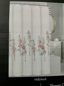 Tahari  Rose Olive  Watercolor Cotton Floral Hollyhock Fabric Shower Curtain