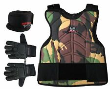 Maddog Full Finger Glove Padded Chest Protector and Neck Combo Trio Camo Lxl