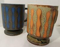 Set 4 Vintage LAVA POTTERY COFFEE MUGS CUPS Handmade COLORFUL Blue Orange STRIPE