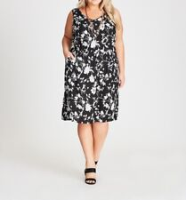 Plus Size Autograph Black & White Sleeveless Floral Viscose Midi Dress Size 18