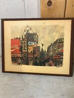 Vintage Mid Century Art Print On Wood Board Picadilly Circus London England