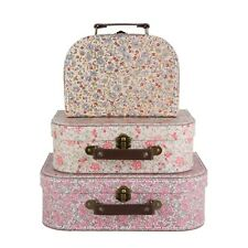 Sass & Belle Set of 3 Small Vintage Floral Suitcases Kids Storage Boxes Cases