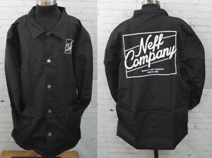 Neff Battered Coaches Snap-up Jacket Men's Large Black New