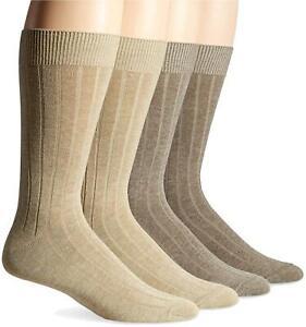 DRCkers Men's Wide Rib Dress Crew Socks (4 & 8 Packs), Khaki, Tan, Size 6.0 Tsmq