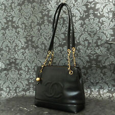 Rise-on Vintage CHANEL Black Caviar Skin Leather Shoulder bag Tote bag #2028
