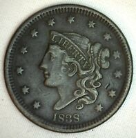 1838 Coronet Large Cent US Copper Type Coin Extra Fine Penny