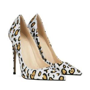 Womens Leopard Print High Heels Pointy Toe Pumps Fashion Stilettos Sandals Shoes