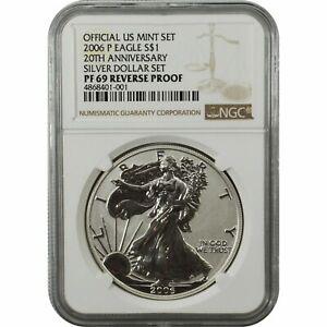 2006-P 20th Anniversary Reverse Proof Silver Eagle NGC PF69 FREE SHIP