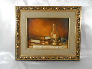 Ornately Framed Signed Oil On Canvas Linister 1964 Still Life