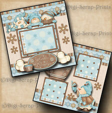 WINTER BLESSINGS ~ 2 premade scrapbook pages paper piecing 4 ALBUM ~BY DIGISCRAP