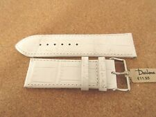 DARLENA WHITE CROCODILE GRAIN LEATHER  26MM WATCH STRAP BAND SILVER BUCKLE