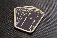 AK47 Playing Cards Woven Patch Tan On Black AK Kalashnikov AK74 7.62 2A Hook