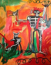 "ALDUS ORIGINAL ""Boy and dog in a Johnnypump"" Jean-Michel Basquiat repro PAINTING"