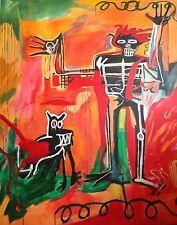 """Aldus original """"garçon et chien dans un johnnypump"""" Jean-Michel Basquiat repro peinture"""