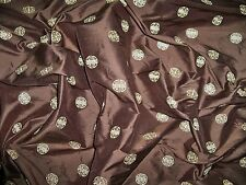 KRAVET COUTURE LEE JOFA CHINOISERIE EMBROIDERED SILK FABRIC 9 YARDS GOLD BROWN