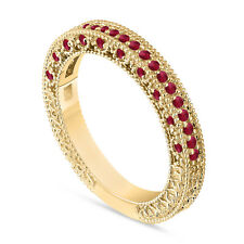 Gold Ruby Wedding Band, Half Eternity Anniversary Ring 14K Yellow Gold Handmade