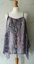 Fire Los Angeles Blue Floral Boho Asymmetric Handkerchief Strappy Top Size S