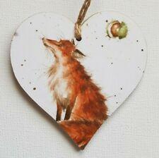Handmade Wooden Hanging Heart Door Hanger Beautiful Wrendale Woodland Fox Print