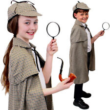 CHILDS SHERLOCK HOLMES DETECTIVE CAPE HAT COSTUME SET WORLD BOOK DAY FANCY DRESS