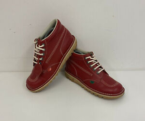 Kickers Kick Hi Red Leather Boots Sz 41 EU / 7 UK Ladies