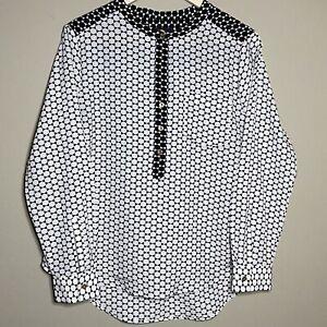 Adrienne Vittadini Large Blouse Top Black White Geometric Long Sleeve Popover