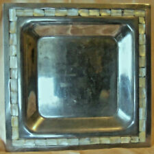"Towle Square Aluminum Bowl with Mother of Pearl or Abalone Inlay 12"" x 12"""