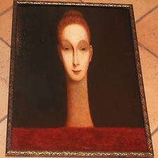 Fante Fanti Signed Oil Painting Female Elongated Head Irish Artist