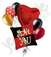 7 pc Red & Black Modern I Love You Heart Valentines Day Balloon Bouquet Be Mine