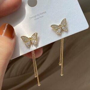 Charm Butterfly Zircon Crystal Ear Stud Earrings Women Wedding Party Jewellery