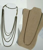 Bronze Tone Metal Cascade Multi Chain Necklace & Single Strand Wide Chain